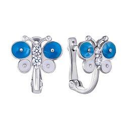 Серебряные серьги с цирконием и эмалью 000138515