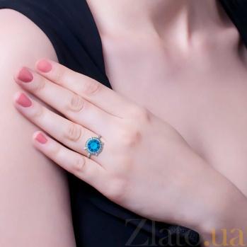 Серебряное кольцо с голубым цирконом Луана AQA--71479г