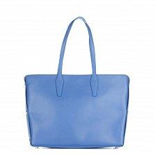 Кожаная деловая сумка Genuine Leather 1853 синего цвета с магнитной кнопкой и заклепками по бокам