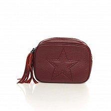 Кожаный клатч-косметичка Genuine Leather 1410 бордового цвета с плечевым ремнем