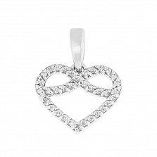 Серебряная подвеска Бесконечная любовь в форме сердца с фианитами