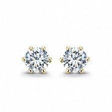 Серьги-пуссеты в желтом золоте Sweet Love с бриллиантами, 0,4ct