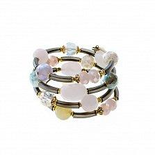 Спиральный браслет Мечты с кварцем и кристаллами Swarovski