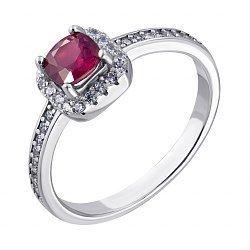 Серебряное кольцо с рубином и фианитами 000117873