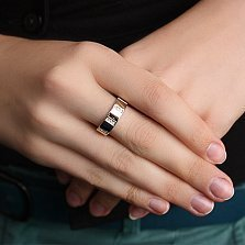 Кольцо из серебра Маями с золотой вставкой и фианитами