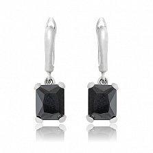 Серебряные серьги-подвески Монте-Карло с черными фианитами