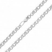 Серебряная цепь Клермонт в плетении бисмарк, 3 мм