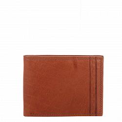 Кожаный кошелек-книжка Genuine Leather gf0049 коньячного цвета с шестью отделениями для карточек
