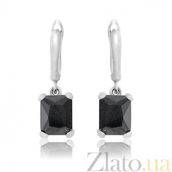 Серебряные серьги Монте-Карло с черными фианитами 10030024