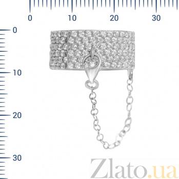 Серебряное кольцо с цепочкой Дайкири с фианитами 000082020