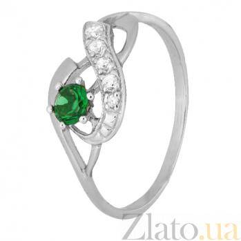 Серебряное кольцо с зеленым фианитом Аделхайд 000028134