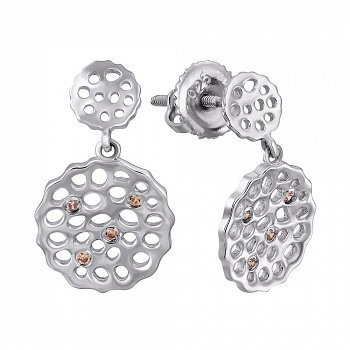 Серебряные серьги-пуссеты с подвесками и фианитами 000121430