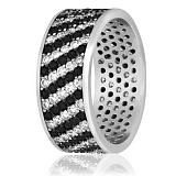 Серебряное кольцо Севера с черным и белым цирконием
