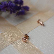 Золотые серьги-пуссеты Завиток с бриллиантами