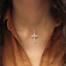 Серебряный крестик с фианитами Обитель любви