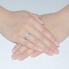 Кольцо из из белого золота с жемчугом Пуговка