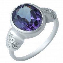 Серебряное кольцо Хилини с александритом и узорами на шинке