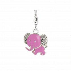 Детский серебряный брелок Слон с розовой эмалью и белыми фианитами, 14х17мм