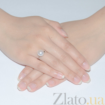 Кольцо из из белого золота с жемчугом Пуговка SG--13253003