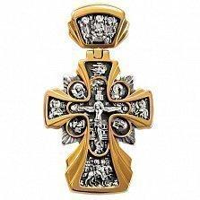 Серебряный крест Божия Матерь «Державная» с позолотой и чернением