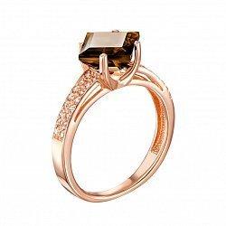 Кольцо из красного золота с раухтопазом и фианитами 000133916