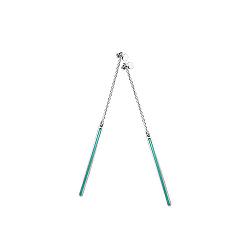 Серебряные серьги-подвески Горизонт с зеленой эмалью