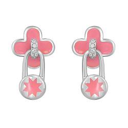 Серебряные серьги-пуссеты Клевер и звездочки с подвесками-замочками, розовой эмалью и фианитами 0001