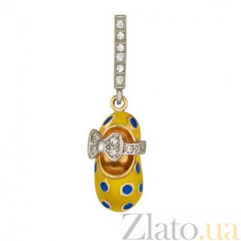 Золотой кулон Волшебный башмачок в комбинированном цвете с фианитами, желтой и синей эмалью VLT--Т362-3