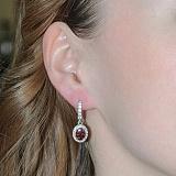 Серебряные серьги Таисия с красным цирконием