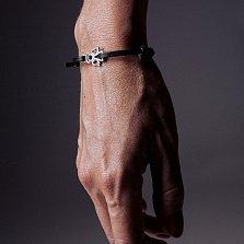 Кожаный браслет с серебром Angel Black с чернением
