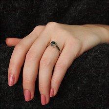 Серебряное кольцо Теолла с сапфиром и золотыми накладками