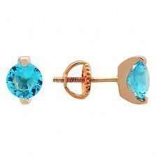 Позолоченные сережки-пуссеты из серебра с голубыми фианитами Аделис
