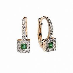 Золотые серьги с изумрудами и бриллиантами Арника