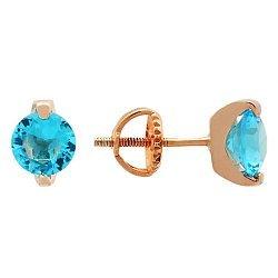 Позолоченные серьги-пуссеты из серебра с голубыми фианитами 000039823