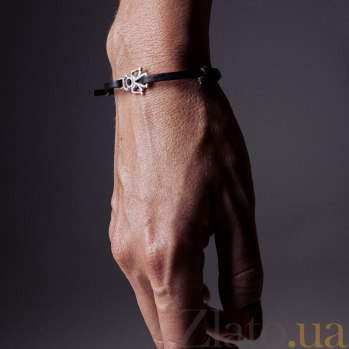 Кожаный браслет с серебром Angel Black с чернением 000091312
