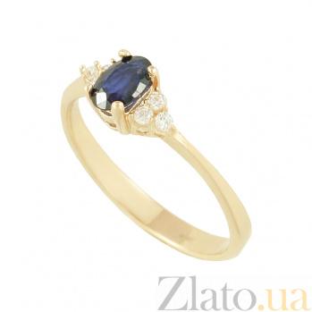 Золотое кольцо с сапфиром и фианитами Лорелей 2К480-0333