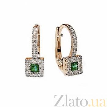 Золотые серьги с изумрудами и бриллиантами Арника 000030414