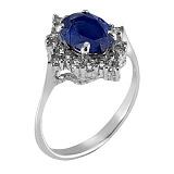 Кольцо серебряное Заря с цирконием цвета Сапфир