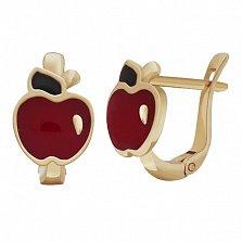 Золотые серьги с цветной эмалью Яблочки