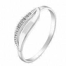 Серебряное кольцо Волна с фианитами