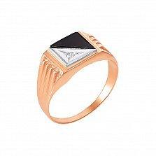 Перстень-печатка в красном и белом золоте Париж с черным ониксом и фианитом