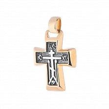 Серебряный крестик с позолотой и чернением Святые заступники