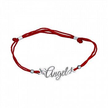 Шелковый браслет в красном цвете с серебряной вставкой 000100177