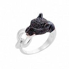 Золотое кольцо Сторожевая пантера с фианитами в стиле Картье