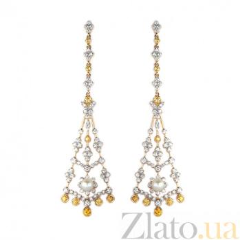 Золотые серьги с бриллиантами, жёлтыми сапфирами и жемчугом Meseda ZMX--EDSyP-00552y