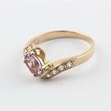 Золотое кольцо Соблазн с аметистом и фианитами
