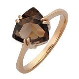 Золотое кольцо Бриджит с дымчатым кварцем