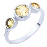 Серебряное кольцо Лилла с цитрином и фианитами