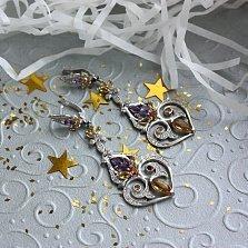 Серебряные серьги Kaleidoscope с аметистами, цитринами и фианитами