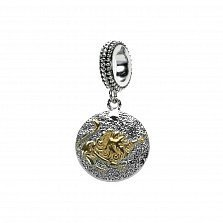 Серебряный шарм Лев с круглой подвеской и цветным родированием